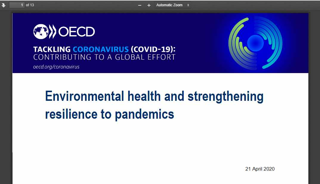 Read the OECD policy brief Environmental health and strengthening resilience to pandemics and more on Environment & Climate