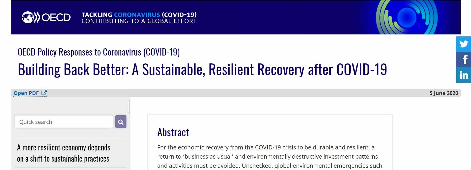 Building Back Better: A Sustainable, Resilient Recovery after COVID-19