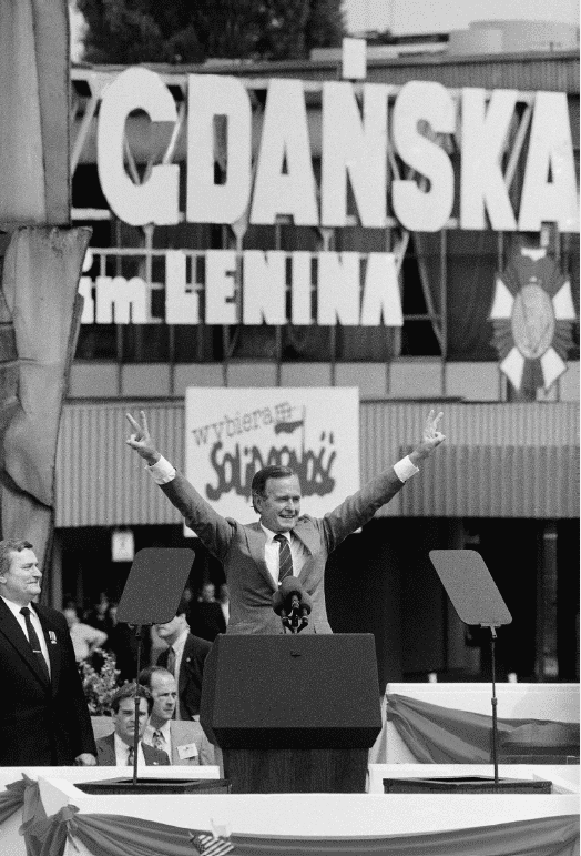Bush with Lech Wałęsa. Gdańsk, 11 July 1989