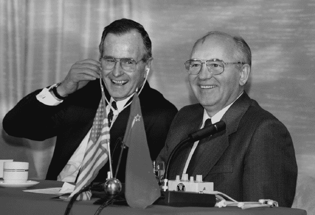 Bush and Gorbachev on the Maxim Gorky, Malta, 3 December 1989