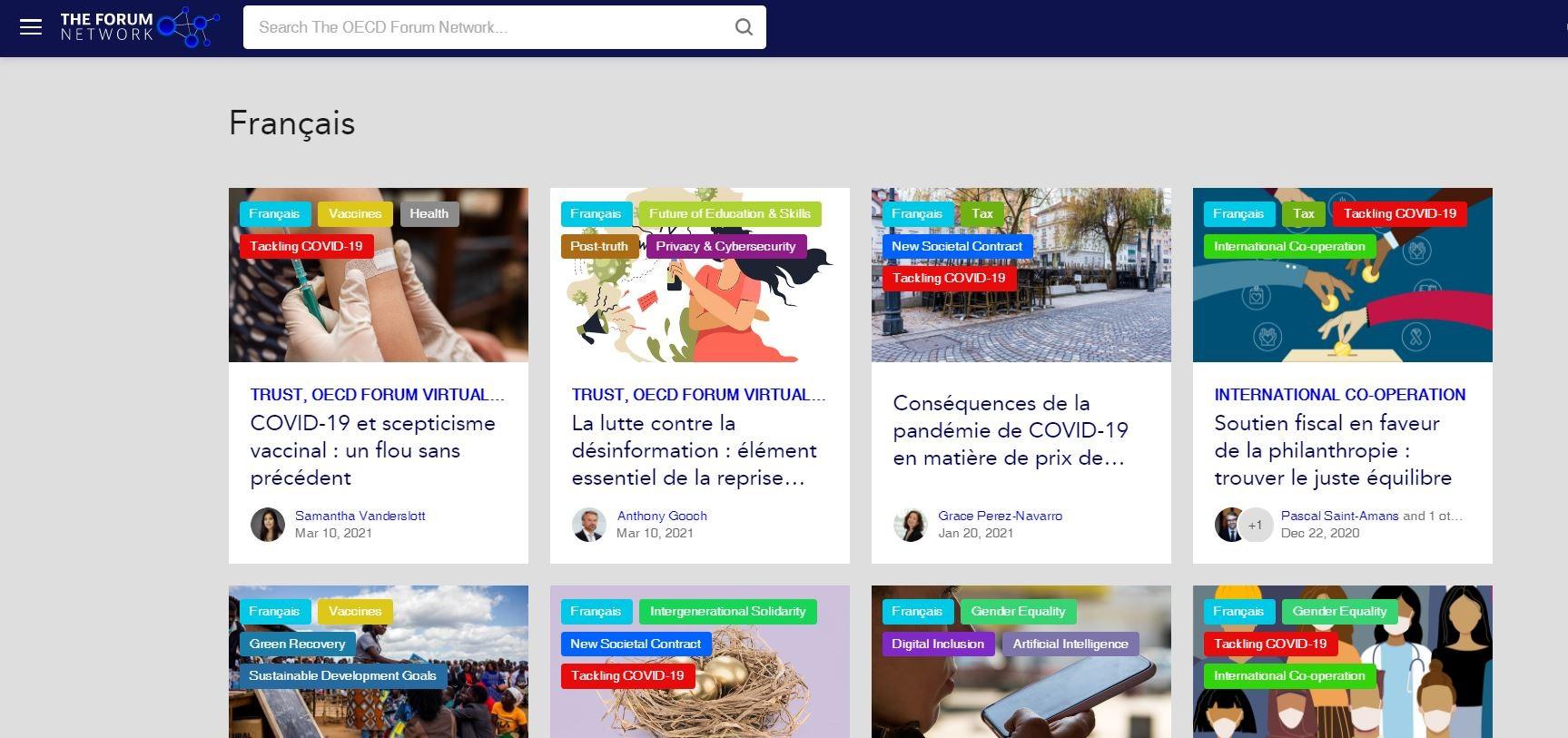 En savoir plus en français sur le Forum Network